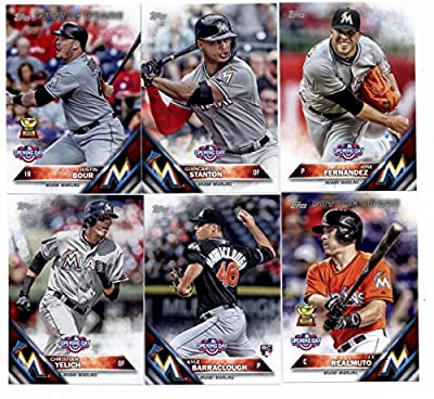 2016 Topps Opening Day Miami Marlins Team Set of 9 Cards: Ichiro(#OD-29), Adeiny Hechavarria(#OD-61), Dee Gordon(#OD-129), Christian Yelich(#OD-141), Kyle Barraclough(#OD-151), J.T. Realmuto(#OD-174), Justin Bour(#OD-181), Giancarlo Stanton(#OD-184), Jose
