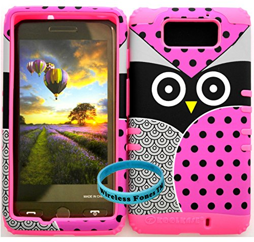 Wireless Fones Tm Verizon Motorola Droid Maxx Xt1080M Tuff Impact Hybrid Cover Case Big Pink Owl Polka Snap On + Pink Silicone (Wireless Fones Tm Band Included)