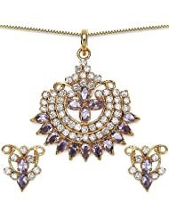 14.90 Grams Purple Cubic Zirconia Gold Plated Brass Pendant Set