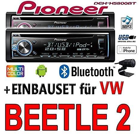 VW Beetle 2 - Pioneer DEH-X5800BT - CD/MP3/USB Bluetooth Autoradio - Einbauset