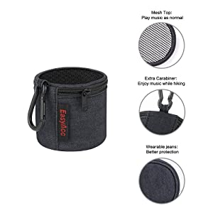 EasyAcc Mini Bluetooth Speaker Bag for Anker SoundCore Mini/Etekcity RoverBeats T3/SoundBot SB510/TaoTronics Wireless Speaker Travel Case Box Portable Protective Pouch Wearable Lightweight Jeans Bag