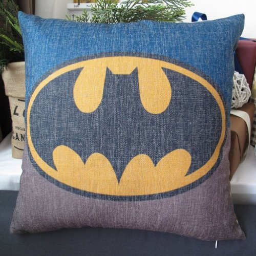 Mary's Home Superman Batman Green Lantern Captain America, Iron Man, il Flash in cotone e lino Copriletto & Federa per cuscino decorativo, Cotone, Batman, 18 x 18 inch