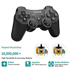 VOYEE PS3 Controller, Upgraded PS3 Wireless Controller for Sony Playstation 3 Black (Color: Black)