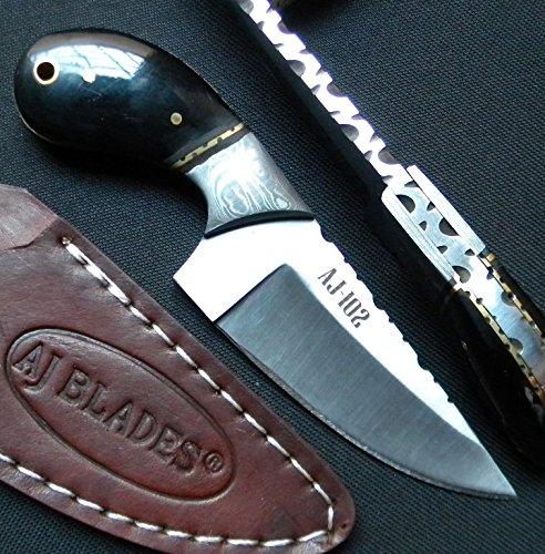 Aj102 Custom Knife | Black Horn Handle | Damascus Bolster | Stainless Steel
