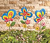 Set of 3 Metal Butterfly Garden Stakes Yard Art Decor