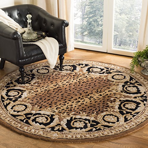 Safavieh Naples Collection NA712A Handmade Black and Gold Wool Round Area Rug, 8 feet in Diameter (8 Diameter)