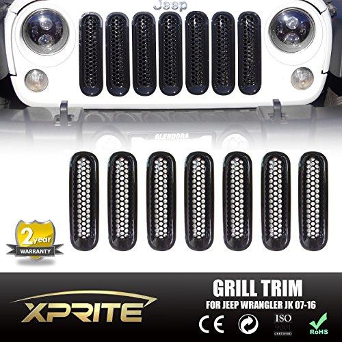Xprite® 2007 – 2015 Jeep Wrangler JK & JK Unlimited Black Front Grill Mesh Grille Insert Kit – 7 PCs