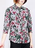 ボタニカル 花柄 プリント ストライプ カジュアル 7分袖シャツ メンズ 男性