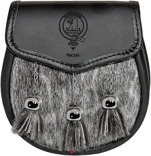 Nicol Semi Dress Sporran Fur Plain Leather Flap Scottish Clan Crest