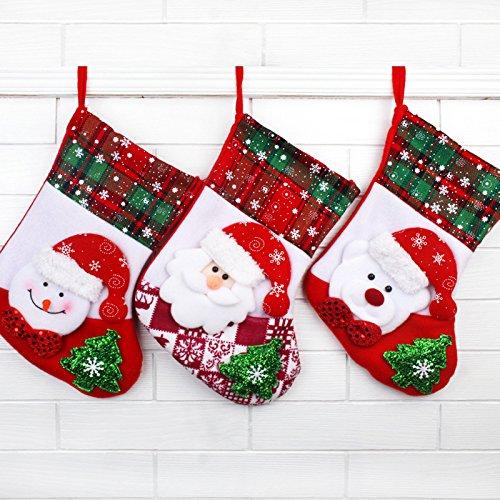 G&M 3pcs impostare gancio di peluche ornamento di Natale calze Babbo Natale ragazza Candy regalo borsa