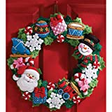 Bucilla Felt Applique Wall Hanging Kit, 15-Inch by 15-Inch, Christmas Toys Wreath