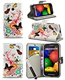 New Stylish Pattern Modern Print Design Wallet Flip Case Cover with Integrated Stand & Retractable Stylus Pen for HTC Desire 610 - Butterfly Design Case