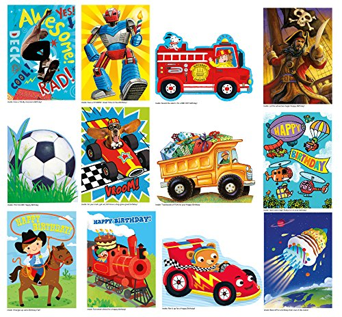 Peaceable Kingdom Birthday Card Set for Boys - Box of 12 Cards and Envelopes