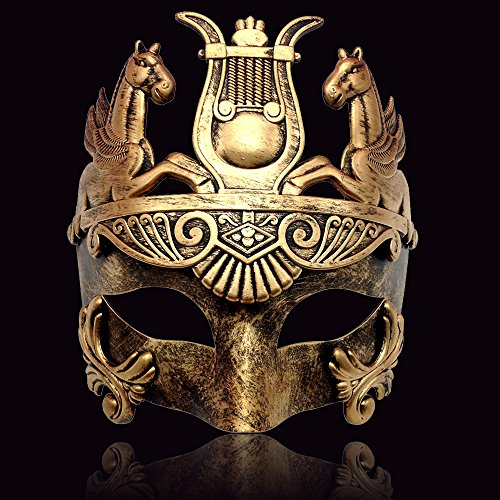Gold Masculine Greek & Roman Soldier Men Venetian Metallic Mask For Masquerade / Party / Ball Prom / Mardi Gras / Wedding / Wall Decoration