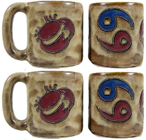 Set Of Four (4) Mara Stoneware Collection - 16 Oz Coffee Cups Collectible Dinner Mugs W/Stackable Mug Post - Zodiac Sign - Cancer The Crab front-112841