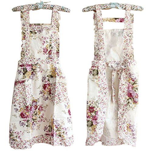 Hyzrz Stylish Flower Pattern Women's Fashion Floral Cotton Chef Cooking Cook Apron Bib with Pockets 17#