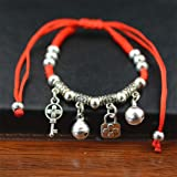 PGNMW Women Angel Wing Elephant Bangles Jewelry Thin Red Thread String Rope Charm Bracelets Retail Key (Color: Key)