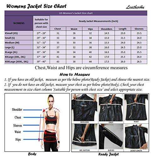 Leather4u Women's Lambskin Leather jacket LL915 S Black