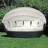 Sonneninsel, Polyrattan Garten Lounge, Chill-Out Sofa mit Baldachin (200x120x140 cm), schwarz, Aluminiumgestänge, mit Sitzpolster und 6 Kissen beige
