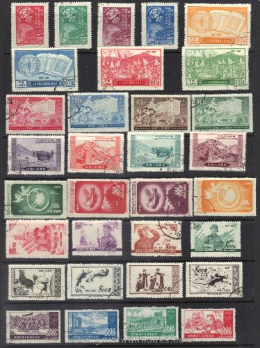 China Stamps - 1949-52, SC 1-4 (reprint),124-35 (reprint), 151-62, 171-4 CTO Collection with 8 complete sets (32 stamps), CTO, F-VF (Free Shipping by Great Wall Bookstore)