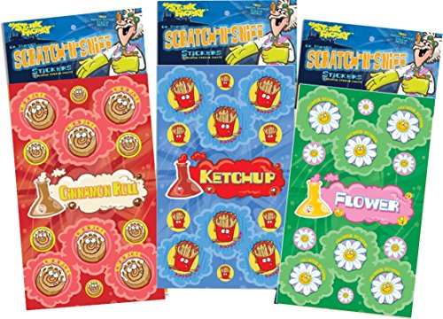 Dr. Stinky's Scratch N Sniff Stickers 3-Pack- Flower Power, Ketchup, Cinamon Roll 81 Stickers