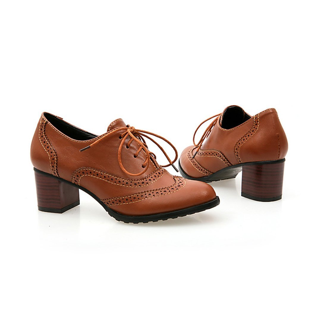 England Brogue Shoe Womens Lace-up Mid Heel Wingtip Oxfords Vintage PU Leather Shoes 1