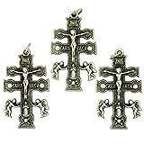 Lot of 3 Silver Tone Crucifix 1 1/2 Inch Caravaca Christian Cross Pendant