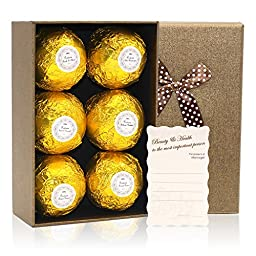 Mavogel Bath Bombs Gift Se with Golden Box, 3.88 oz, Pack of 6