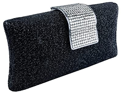 Glamorous Glitter Hard Case Evening Clutch Baguette Handbag Purse Rhinestone Closure w/Detachable Chain