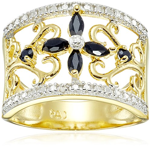 yellow-gold-plated-sterling-silver-sapphire-flower-ring-size-8