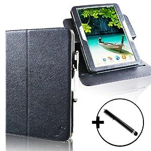 ForeFront Cases® Schutzhülle / Hülle für Samsung Galaxy Tab 3 10.1 - Ständer, Magnetverschluss, Auto Sleep/Wake-Funktion - Kunstleder - inkl. Eingabestift - Schwarz