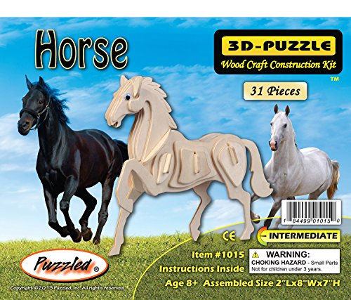 Puzzled Horse Wooden 3D Puzzle Construction Kit