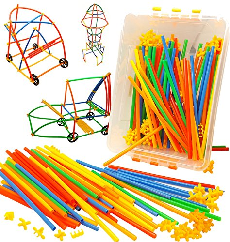 400 Piece Straws and Wheels Connector Set Educational Building Model Toy Promotes Cognitive Development, Fine Motor Skills and Spatial Reasoning (Building Toys For Preschoolers compare prices)