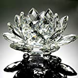 Hot Sale!!Lotus Crystal Glass Figure Paperweight Ornament Feng Shui Decor Collection Diameter - 60mm (A)
