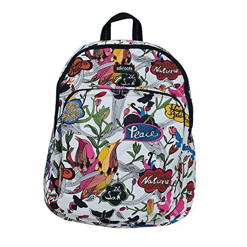 Sakroots Women's Artist Circle Medium Backpack White Peace Print