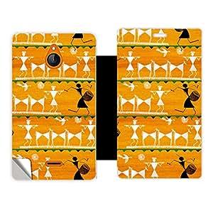 Skintice Designer Flip Cover with a hi-res printed Vinyl Wrap-around for Nokia X2, Design - Yellow Warli Art