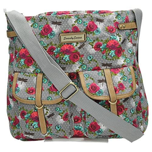 Hayley Dragonfly & Rose Floral Polka Dot Twin Pocket Ladies Womens Messenger Crossbody Bag SwankySwans