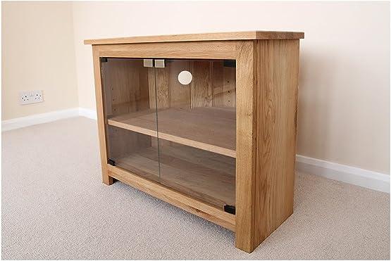 Mobile porta TV ad angolo in rovere, supporto o mobile, con ante in vetro, 750 mm, con mensola regolabile, adatto per il soggiorno