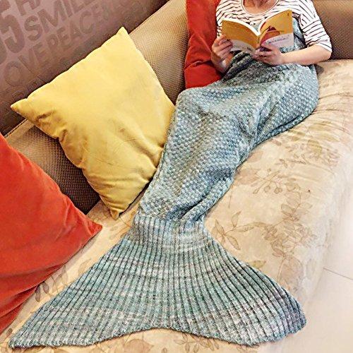 "YING LAN Cozy Knit Crochet Mermaid Tail Blanket Soft Sleeping Bag for Adults Kids(55""X27.6"", Light Green)"