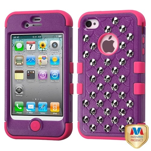 Cell Accessories For Less (Tm) Apple Iphone 4S/4 Purple/Electric Pink Tuff Hybrid Case Cover (With Studs) + Bundle (Stylus & Micro Cleaning Cloth) - By Thetargetbuys