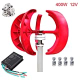 Seeutek Wind Turbine Generator Red Lantern 5 Leaves Vertical Axis 400W 12V Kit with Controller (Tamaño: 12V Red)