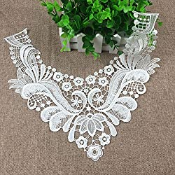 Vintage Lace Embroidered Collar Applique Neckline Wedding Sewing Patches