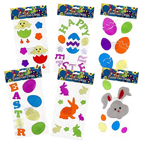 6 Easter Window Gel Clings; Includes: Bunnies, Eggs, Chicks, Flowers, Happy Easter and More!! Easter Decorations!