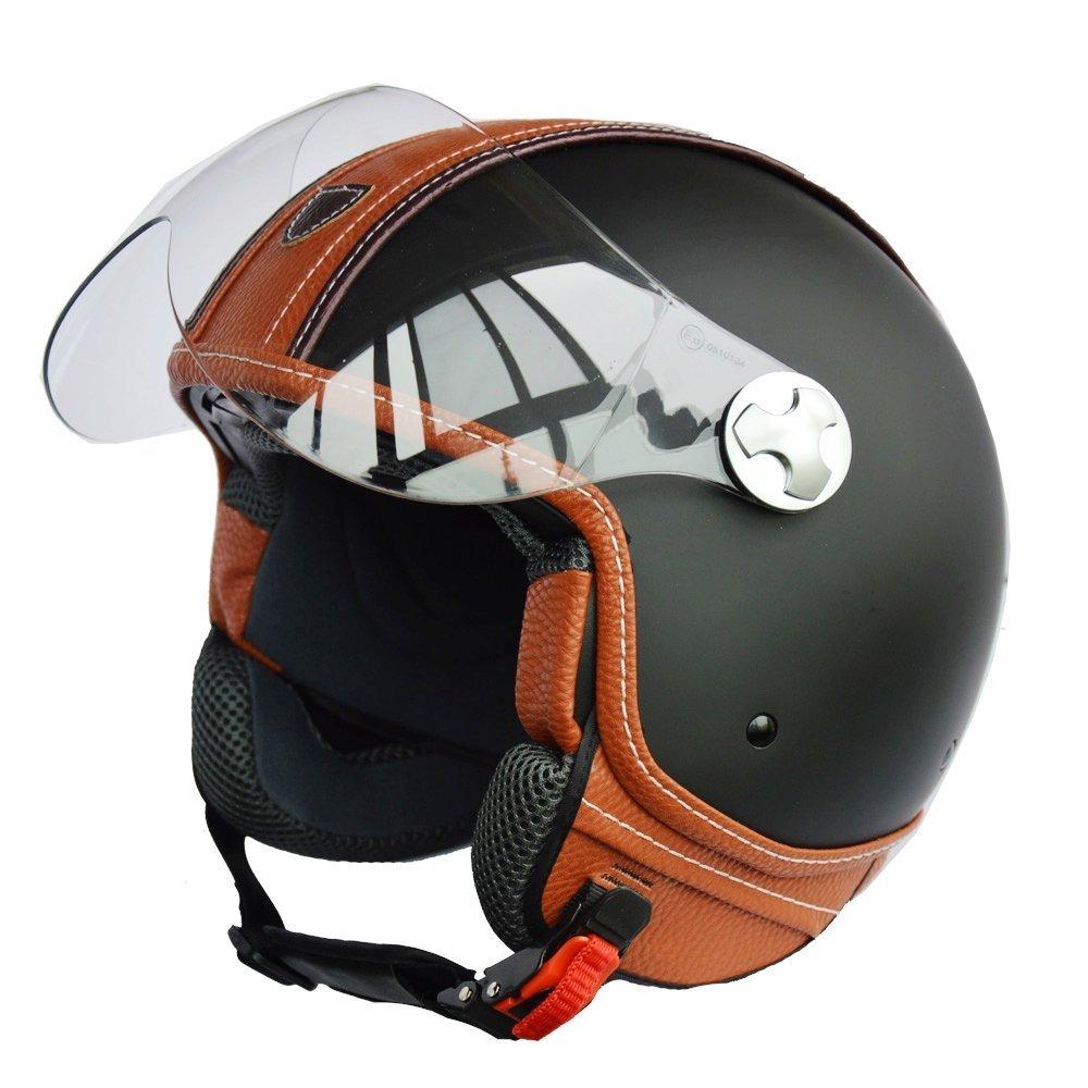 PEDA Italian Design (MOCA B) ECE DOT Motorcycle Helmet,Unisex Open Face ITALY Jet Sport Urban Vintage CASCOS,Leather Style,Capacete,Half Helmet (Medium) 1