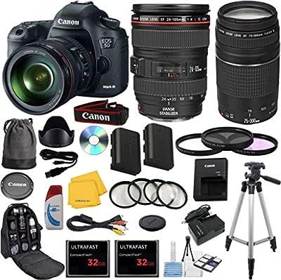 Canon EOS 5D Mark III 22.3 MP Full Frame CMOS Digital SLR Camera Bundle with Accessory Kit (29 Items)