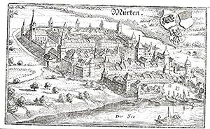 Murten Gesamtansicht Kanton Freiburg Original Kupferstich Merian
