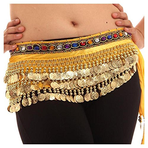 [Women Belly Dancer Costumes Hip Scarf Wrap Golden 248 Sequins Belt Velvet Skirt Color:Yellow] (Golden Belly Dancer Costumes)
