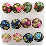 Wholesale 6 Pairs Mixed Colours Cloth Button Plastic Ear Pin Piercing Stud Earrings Boho Style Flower
