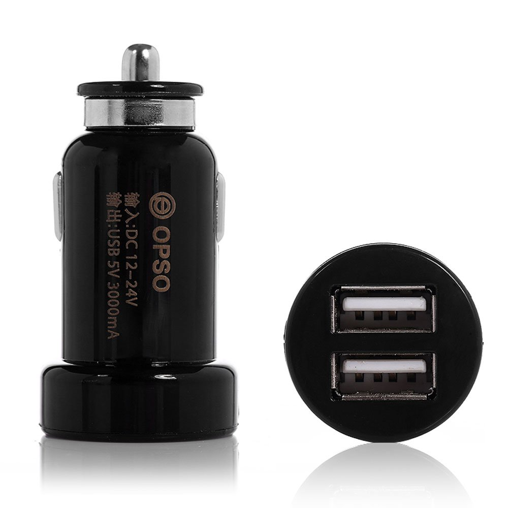 OPSO 15W 3A Rapid Dual USB Car Charger Portable Mini Vehicle Power Adapter for iPhone 6 Plus 5S 5C 5 4S 4 iPad Air 2 3 4 mini Retina iPod / Samsung Galaxy S5 S4 S3 Note 4 3 Note 2 / HTC One (M8) Most Apple and Android Devices, Black