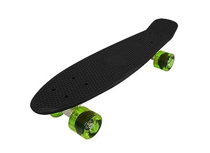 Cruiser  Skateboard  BLACK DECK + GREEN TRANSPARENT WHEELS